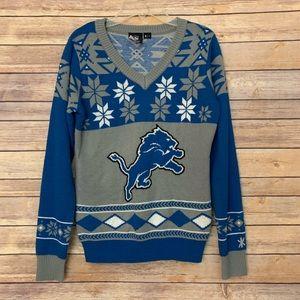 NFL Detroit Lions Sweater Snowflakes Blue gray